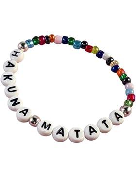 HH Jewellery Hakuna Matata Slim mehrfarbige Samen Glas Bead elastisches Armband mit Weiß Buchstabe Beads