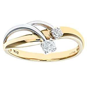 Naava Women's Diamond Ring, 9 ct Yellow and White Gold set with Two Stones