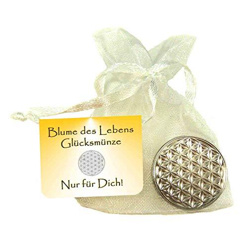 EnerChrom - Blume des Lebens-Glücksmünze als Glücksbringer 'Nur für Dich' - Farbe: silber - 1 Stück im Säckchen als Geschenk - Lebensblume-Talisman