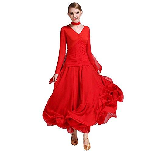 OOARGE Frauen Modern Waltz Tango Tanzen Kleidung Ballroom Tanz Röcke , red , (Für Outfits Weniger Tanz)