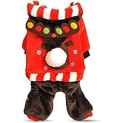 PETCUTE Víspera de Todos los Santos Perro Wram de Invierno Capucha Ropa Mascota Santa Elk Disfraz Traje Navidad Capa Vestir Rojo