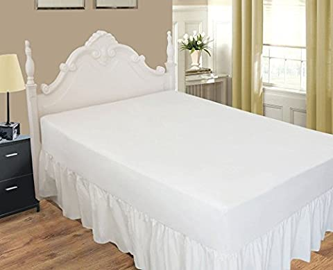White Extra Deep Fitted Valance Frilled Bed Sheet To Fit The Deep Mattress (10