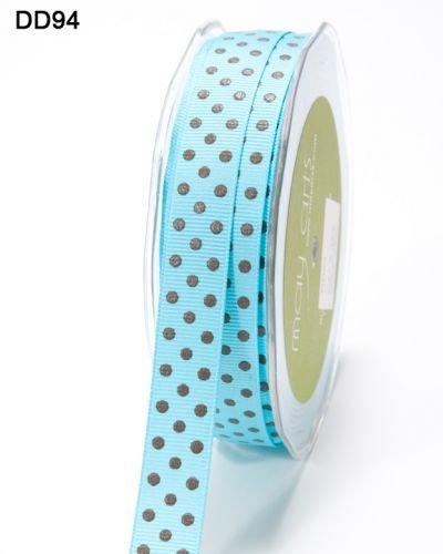 Nastro Grosgrain Blu Turchese con pois, colore: marrone, 15mm su un 3M di lunghezza (tagliato (Brown Dot Del Nastro Del Grosgrain)