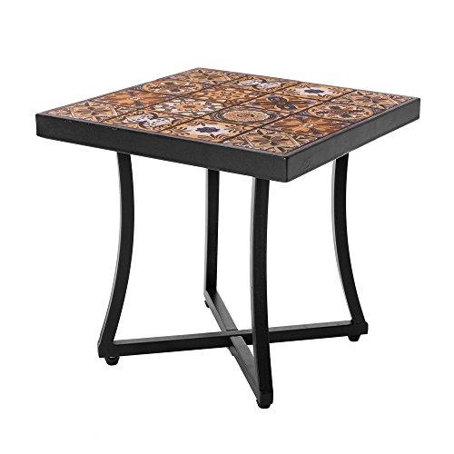 Mesa de jardín de hierro y mosaico marrón para terraza Garden - Lola Home