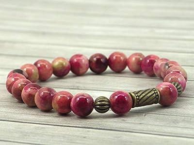 Bracelet pour femme vintage tibétain en perles de jade naturel teinté en rouge