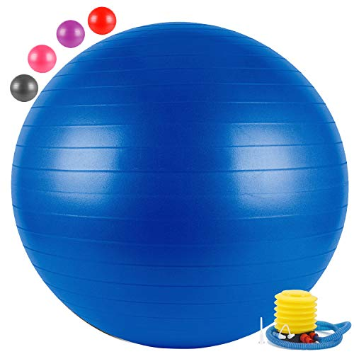 FITSY® Anti-Burst Yoga Exercise Gym Ball with Foot Pump, 65 cm, Blue