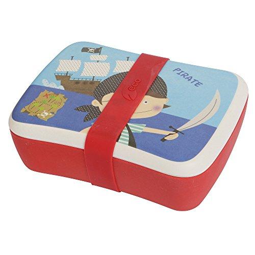 Eco Lunch Box für Kinder mit einem separaten Sauce Container und Silikon Gürtel–Kinder und Kinder und Mittagessen Behälter aus Bambus Naturfaser, Spülmaschinenfest und BPA-frei Pirates
