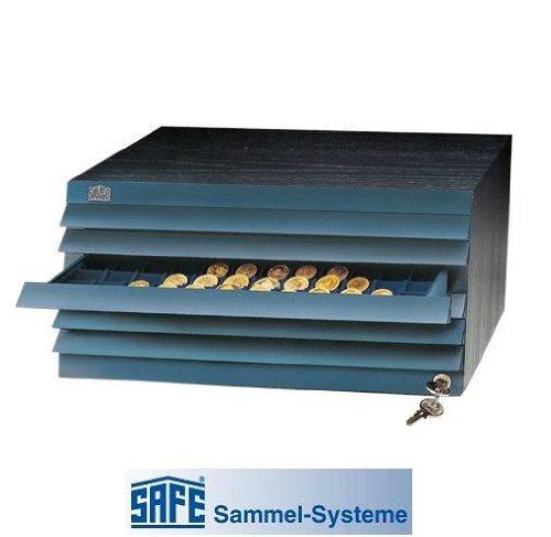 SAFE 6500 Eleganter schwarzer Außenrahmen Furnier Holz Münze & Schrank mit 6 Schubladen aus der Kollektion/Saatschalen (frei wählbare)