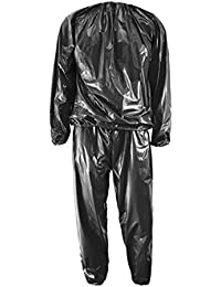 Sauna Suit - SODIAL(R) Heavy Duty Fitness Weight Loss Sweat Sauna Suit Exercise Gym Anti-Rip Black L