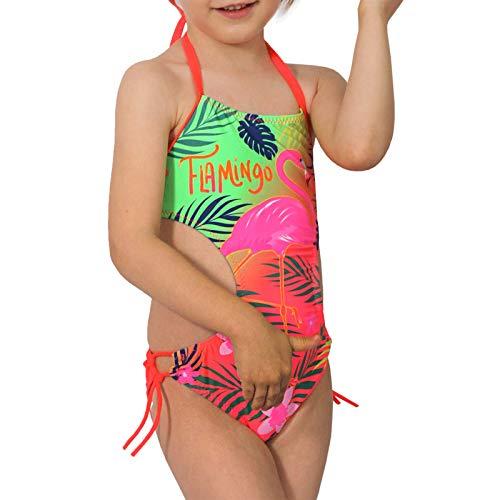 Mädchen Neon Coral (Candygirls Kinder Badeanzug Flamingo Neon Bunt Neckholder Mädchen Strand Bikini Palme Blume 9513 (Coral, 128/134))