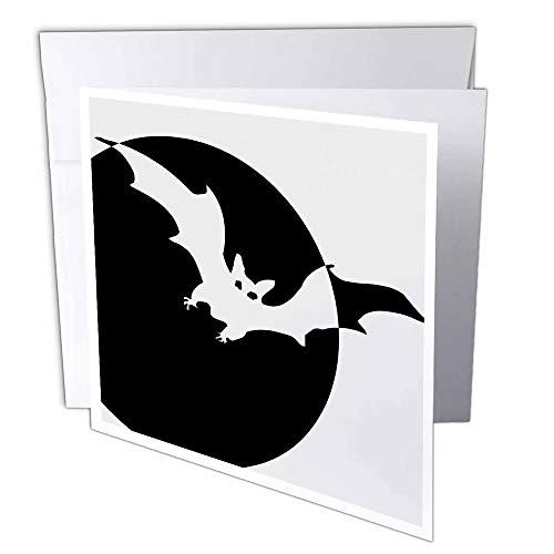 3dRose gc_39337_1 Grußkarte, Motiv Mond und Fledermaus, Halloween, Gruselige Designs, 15,2 x 15,2 cm, 6 Stück (Halloween Gruselig-designs Für)