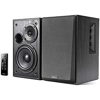 Edifier R1580MB Active 2.0 Studio Bookshelf Speaker System with Dual Microphone Inputs and Bluetooth Connectivity - Black Wood