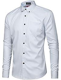 Kuson Herren Hemd Regular fit Für Business Hochzeit Freizeit  Bügelleicht Bügelfrei Reine Farbe Hemden Langarmhemd b7874089b4