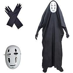 Amycute 3 PCS Suit del Viaje de Chihiro, Disfraz de sin Cara No-Face Máscara y Guante, Cosplay japonés de Sin Rostro del Viaje de Chihiro para Halloween Carnaval Fiestas de Cosplay Gamer y Disfraces