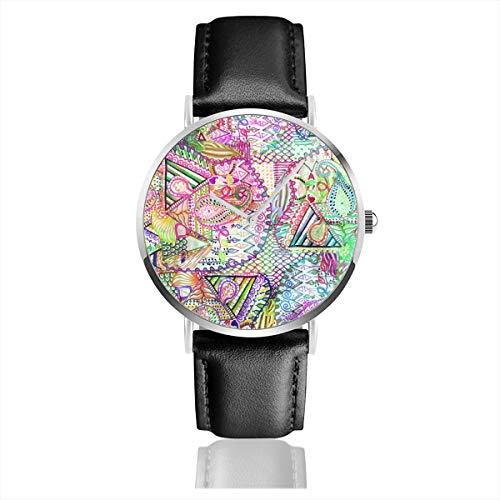 Abstrakte Mädchen (Armbanduhr, abstrakt, Mädchen, Neonfarben, Paisleymuster, Edelstahl, klassisches Lederarmband)