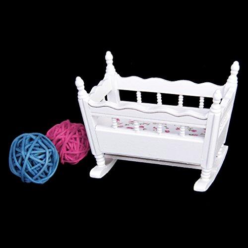1/12 Bambole Casa In Miniatura Di Legno Bianco Nursery Culla per Bambini