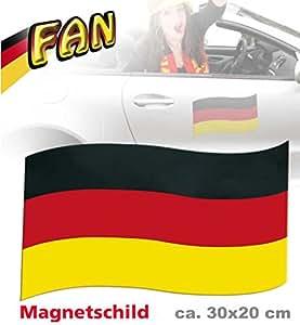 Magnetfahne FAN ca. 30 x 20 cm, 1 Stück, Deutschland, Fußball, WM, EM, Autocorso, Fanartikel, Magnetschild