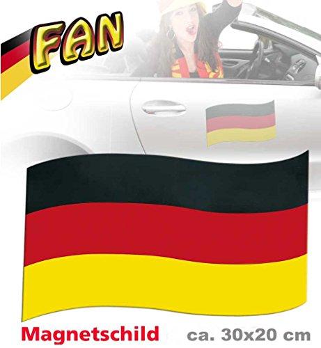 Magnetfahne FAN ca. 30 x 20 cm 1 Stück Deutschland Fußball WM EM Autocorso (Olympischen Spiele Themen Kostüm Party)