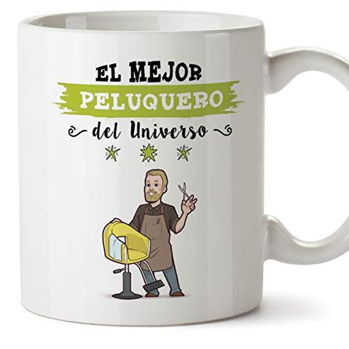 MUGFFINS Peluquero Tazas Originales de café y Desayuno para Regalar a Trabajadores Profesionales - Esta Taza Pertenece al Mejor Peluquero del Universo - Cerámica 350 ml