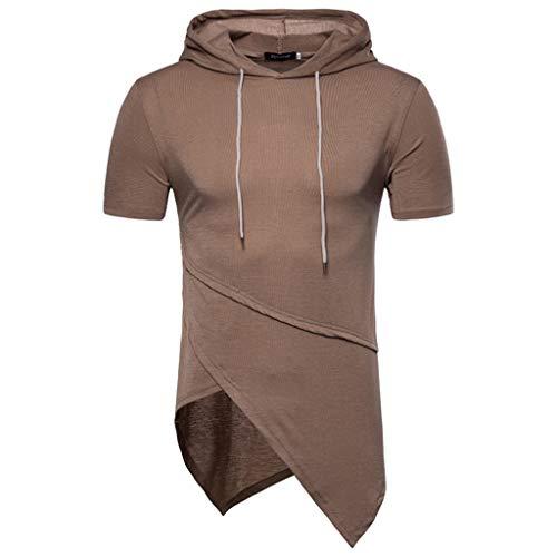Btruely Hoodies T-Shirt Herren Unregelmäßiger Tops Groß Größe Shirt Basic Kurzarmshirt Sommer Hemd Slim Fit Freizeitshirt für ()