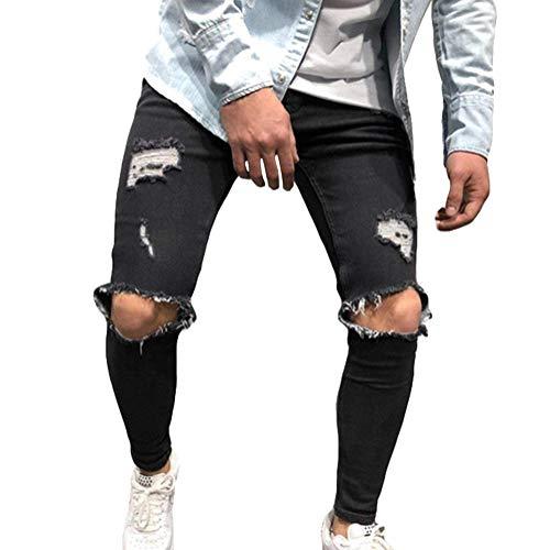 Tomwell jeans da uomo pantaloni distrutto pantaloni denim moda casual skinny strappati pants jeans con tasche nero l