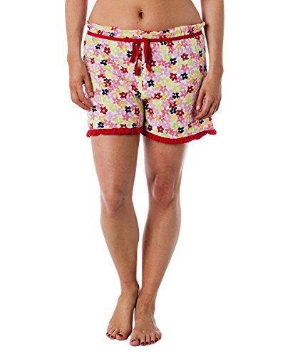 Ensemble pyjama femme débardeur dos nageur et short à froufrous Rouge