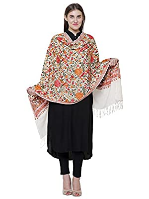 Matelco Women's Wool Pashmina Cream Floral Embroidered Stole (MSCR12, Beige, Free Size)