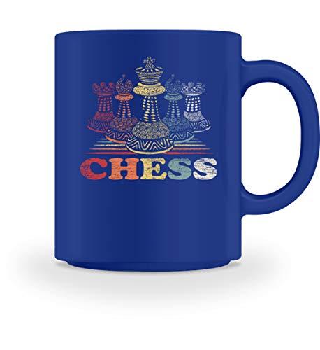 Shirtee Retro Schachfiguren - Geschenk für Schachspieler - Schach Schachbrett Schachmatt - Tasse -M-Royal Blau (Royal-baby-tasse)
