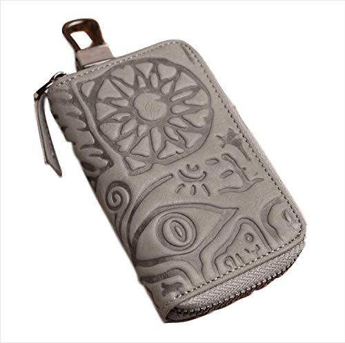 RERU Caso chiave Portafogli chiave in vera pelle per uomo donna retro chiave auto in rilievo tasca titolare della carta di moda portinaia custodia chiave maschile portachiavi grigio