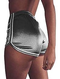 Pantalones cortos mujer sexy , ❤️ Amlaiworld Mujer Leggins Pantalones cortos casuales de verano Pantalones cortos deportivos de cintura alta Pantalón de playa (Plata, XL)