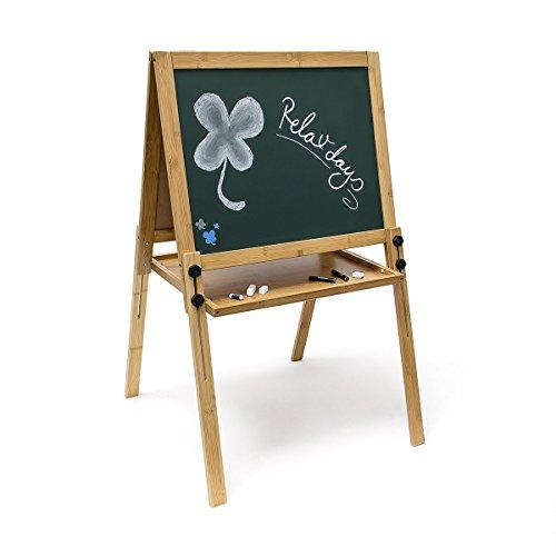 Relaxdays Kindertafel höhenverstellbar H x B x T: ca. 93 x 56.5 x 56.5 cm magnetische Kreidetafel in grün als Spieltafel für Schreibübungen als praktisches Geschenk für Kinder in der Schule, grün