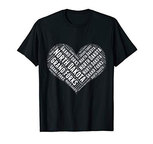 State Heart NORTH DAKOTA Tshirt GRAND FORKS Tshirt Home Tee -