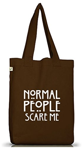 Shirtstreet24, AHS - Normal People Scare Me, Jutebeutel Stoff Tasche Earth Positive (ONE SIZE) Brown