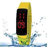 ZULY Kosteneffizient Uhr 10ATM Regenmantel Mode Gebogene Airfoil LED Rotes Licht Datum Funktion Unisex Digitaluhr mit Silikonband (Farbe : Gelb)