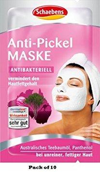 10 x Schaebens Anti-Pickel Gesichtsmaske - vermindert den Hautfettgehalt (10 x 2 x 5mL für 20 Anwendungen)