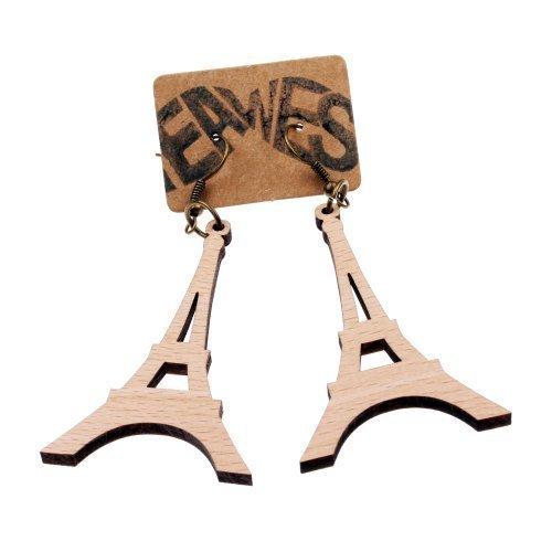 Holz - zwei Stück - Paris Ohrring Frankreich Liebe France Ohrhänger (Wein Und Käse Kostüme)