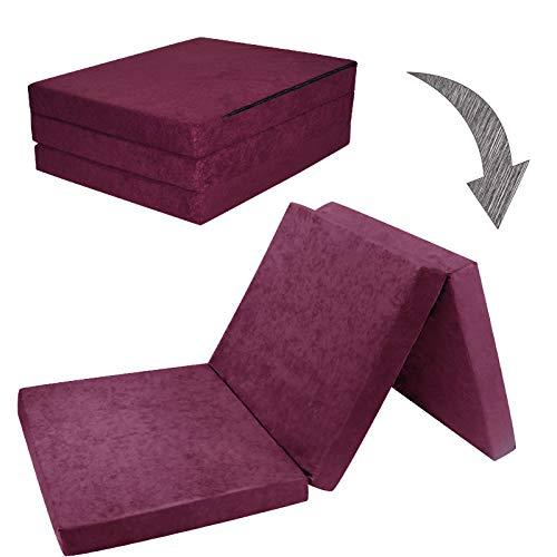 Fortisline Matelas d'appoint Pliant lit d'appoint lit d'invité futon Pouf 195x80x9 cm Couleur Violet