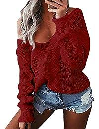 62ea664ccc4183 wenyujh Damen Pullover Langarm Sweatshirt Herbst Winter Pulli Tiefer  V-Ausschnitt One Shoulder Einfarbig…