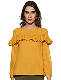 Amazon Brand - Symbol Women's Blouse Top with Ruffle Details