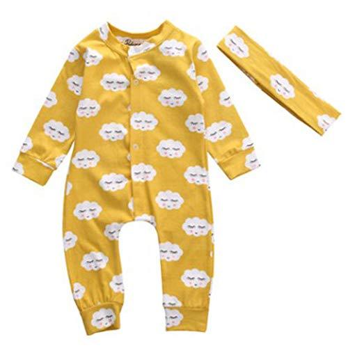 PinzhiBaby Jumpsuit mit Langen Ärmeln Baby Romper 100% Baumwolle Komfortables Baby Krabbeln (Größe2)