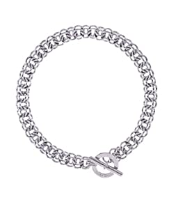 Karen Millen Silver Encrusted Bar & Hoop Necklace of Length 43cm