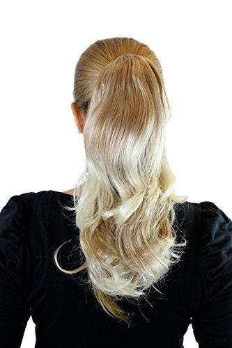 Extension, postiche, mélange de blond avec des pointes claires, tresse, attache avec pince, ondulé, env. 40 cm, JL-0065-27T613