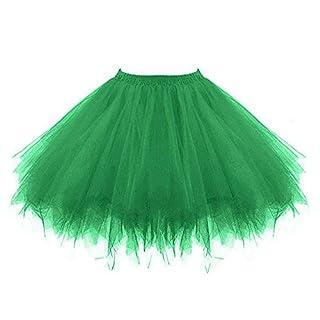 VEMOW Tutu Damenrock Cosplay Tüllrock 50er Kurz Ballet Tanzkleid Unterkleid Crinoline Petticoat Crinoline für Rockabilly Kleid Partykleder (Grün, XL)
