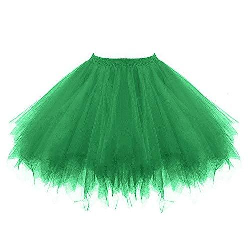 VEMOW Tutu Damenrock Cosplay Tüllrock 50er Kurz Ballet Tanzkleid Unterkleid Crinoline Petticoat Crinoline für Rockabilly Kleid Partykleder (Grün, 3XL) (Creeper Kostüm Ideen)
