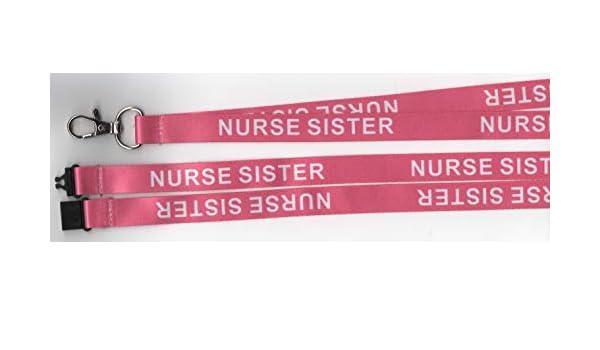 """ideale per badge identificativi 1 cordino di sicurezza per collo con scritta in inglese /""""Nurse Sister/"""" colore rosa"""