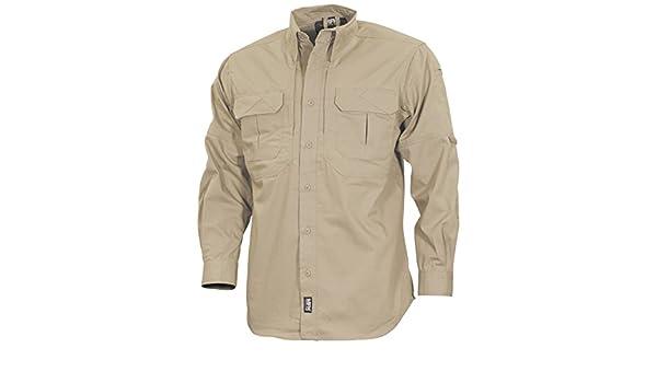 be32185c83d3 MFH Men s Strike Tactical Shirt Long Sleeve Khaki  Amazon.co.uk  Clothing
