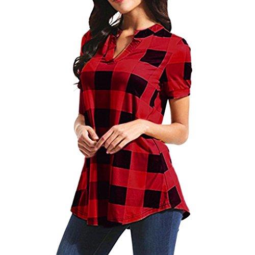 UFACE Damen Plaid gedruckt V-Ausschnitt mit kurzen Ärmeln lose Damen Shirt Shirt Bluse T-Shirt Tops(Rot,EU/48CN/2XL)