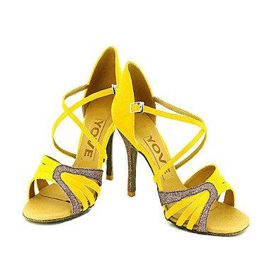 Scarpe da ballo Donna - Latinoamericano / Salsa - Customized Heel - Satin / Eco-pelle -Nero / Blu / Giallo / fuchsia