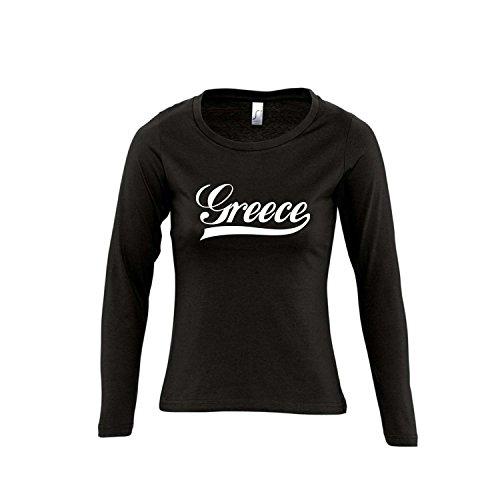 Griechenland Oldschool Greece LÄNDERSHIRT EM / WM FAN Trikot - Damen Langarm Longsleeve T-Shirt S-XL , Deep black - weiß , L