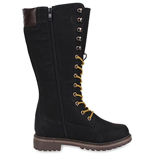 Damen Stiefel Worker Boots Profilsohle Schnürstiefel Schwarz